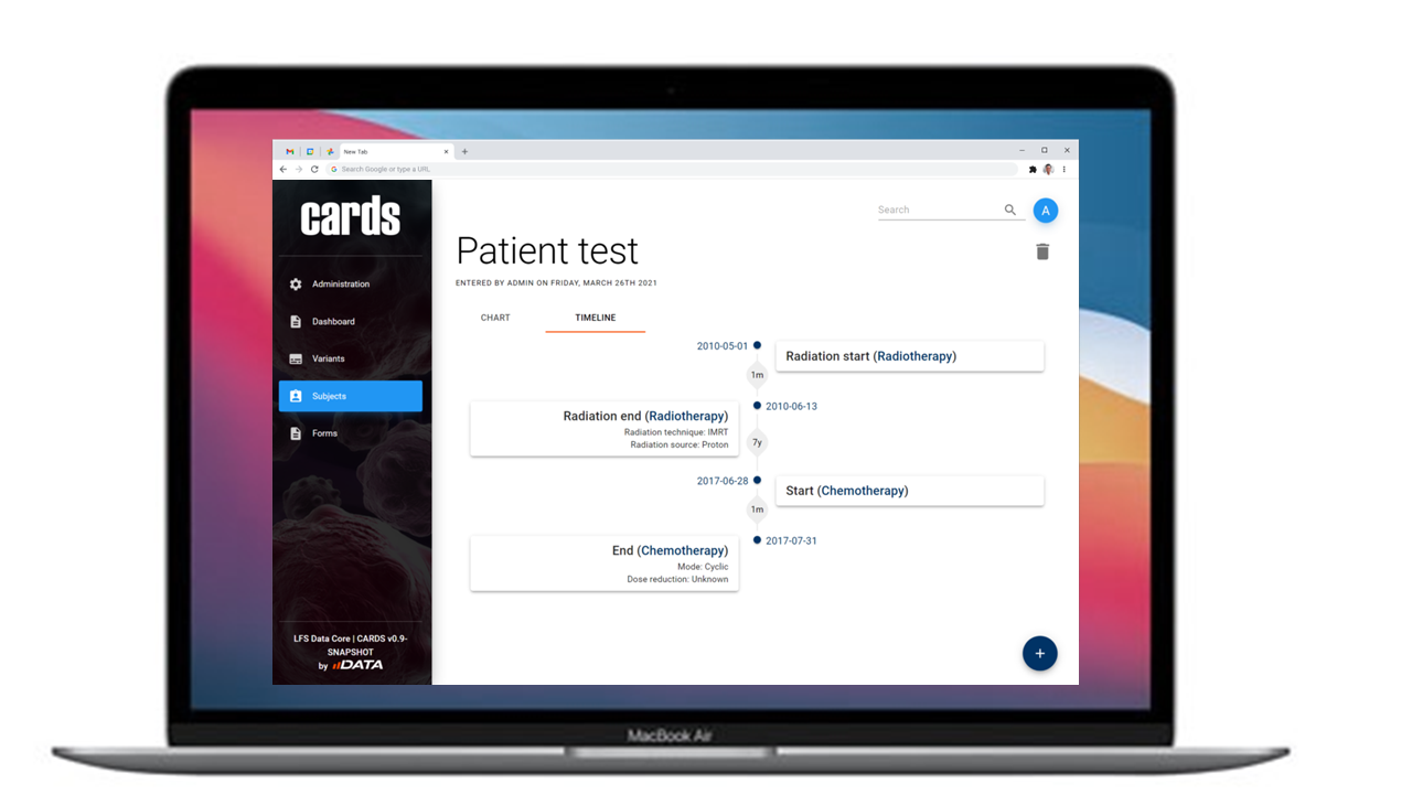 Timeline View  The timeline view automatically constructs itself based on dates that are input into forms. This visual shows you a patient's journey through your study and calculates differentials between points to give you a comprehensive look at milestones in your study.